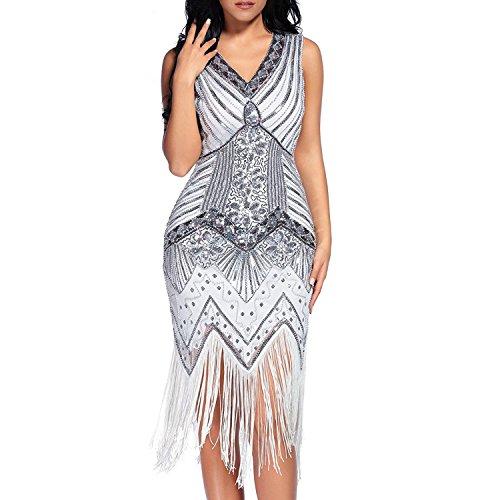 Flapper Vestidos de Mujer de los años 20 con Cuello en V con Cuentas de Flecos Great Gatsby Dress (Blanco, XL)