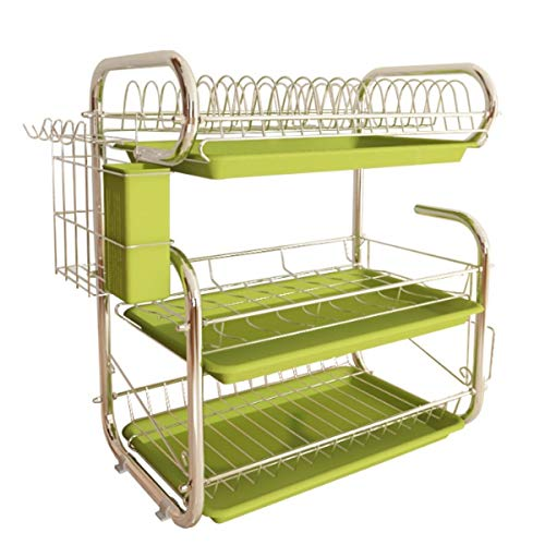 Trendy household houder voor het drogen van gebruiksvoorwerpen, 3 afdruipstaven, opbergvakken, keukenrek, wasmand, ijzer, gecoat, gootsteen, afdruiprek