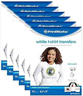 """Printworks White T-Shirt Transfers Perfect for DIY Crafts, for Use on White Fabrics Only, Photo Quality, for Inkjet Printers, 6-Pack (60 Sheets), 8 ½"""" x 11"""" (00636C)"""