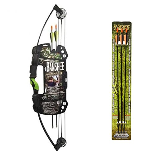 Barnett Outdoors Team Realtree Banshee Quad Junior Compound Bow Archery Set + Barnett Outdoors Junior Archery 28-Inch Arrows (3 Pack)