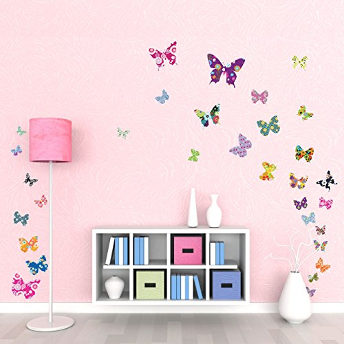 DECOWALL DW-1201 38 Farfalle Colorate Adesivi da Parete Decorazioni Parete Stickers Murali Soggiorno Asilo Nido Camera da Letto per Bambini
