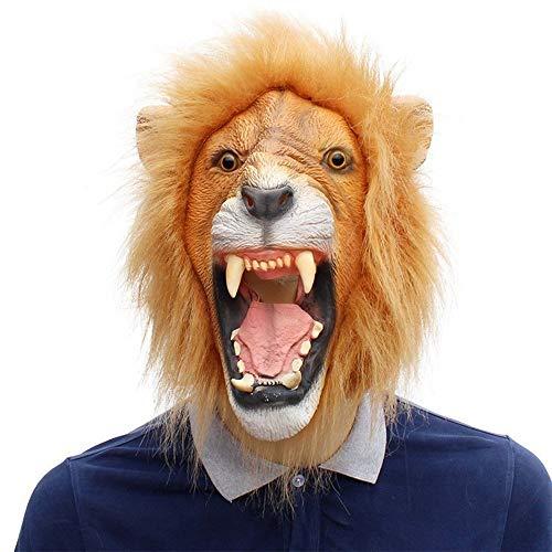 JIEIIFAFH Maschere di Gomma Divertenti in Lattice con Testa di Leone in Maschera di Animali Serie Halloween Bar Cosplay (Color : Lion, Size : One Size)