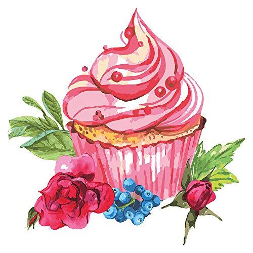 dekodino® Wandtattoo Blumen Aquarell Cupcake mit Blüten Wandsticker Deko