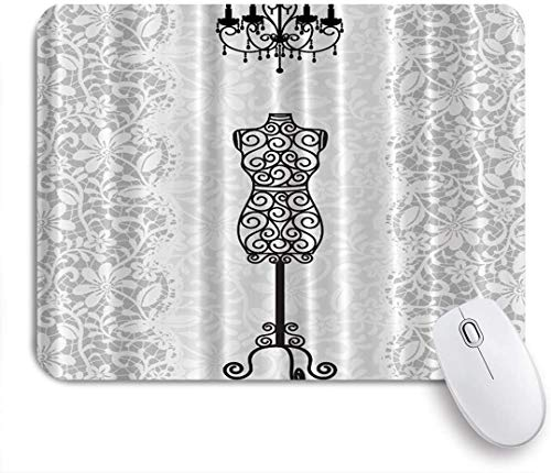 MOBEITI Gaming Mouse Pad,Gray Female Dress Form Mannequin Black Chandelier White Lace Home Woman Fashion Theme,9.5