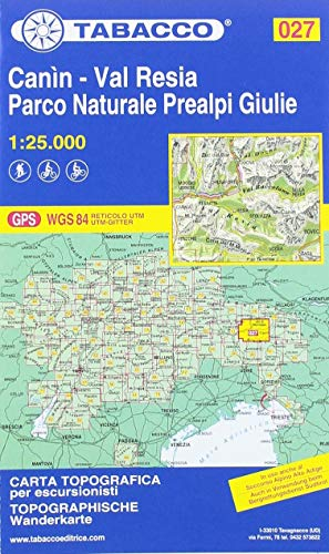 Wanderkarte 27 Canin 1:25000: Tabacco / GPS / WGS 84 RETICOLO UTM / UTM-GITTER
