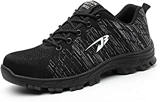 YI XIE Work Safety Shoes Puncture Proofed Footwear Steel Toe Shoes Men,Safety Shoes for Men and Women (6, Black)