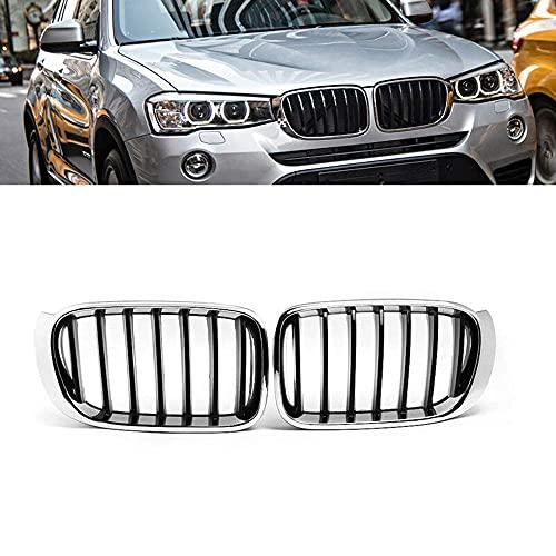 Auto Front Grill Gitter Nieren Grill Ersatz für BMW X3 F25 /X4 F26 2014 2015 2016 2017, Kühlergrill Glänzend Nieren Kühlergitter Gitter, Glänzend Doppel-Lamellen Grill