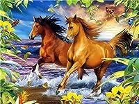 番号によるDiyペイントデジタル油絵2頭の馬デジタル油絵ツールキット大人と子供のためのギフト