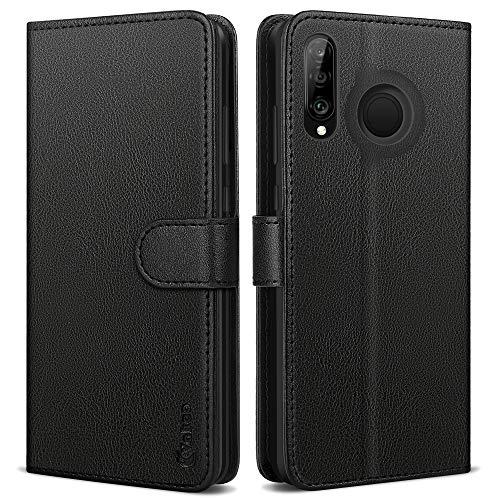Vakoo Serie Wallet Cover per Huawei P30 Lite Custodia, Nero