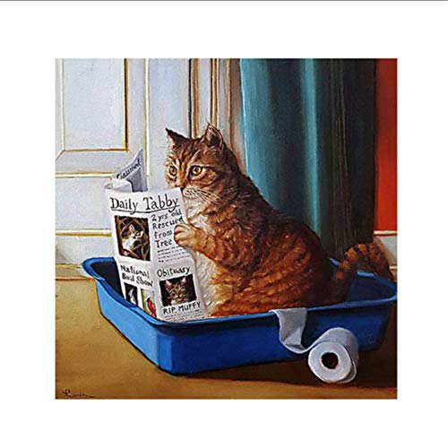 GoGreen Sprouter Cartoon Cat Sitting in A Litter Box Reading A Newspaper Posters and Prints Wall Art Funny Canvas Painting Art Wall Pictures Room Decor-24X24 Inchx1 Frameless