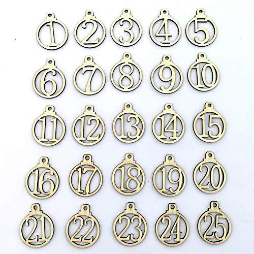 vimbhzlvigour hölzerne Nummernschilder 1-25, viele Muster, Countdown-Adventskalender, Zahlen, zum Basteln, Geschenkanhänger Multi