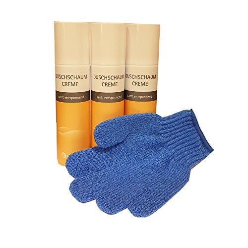 """Duschschaum """"Creme"""" Sparpaket (3 x 150 ml) von Spitzner mit einem Gratis Massagehandschuh"""