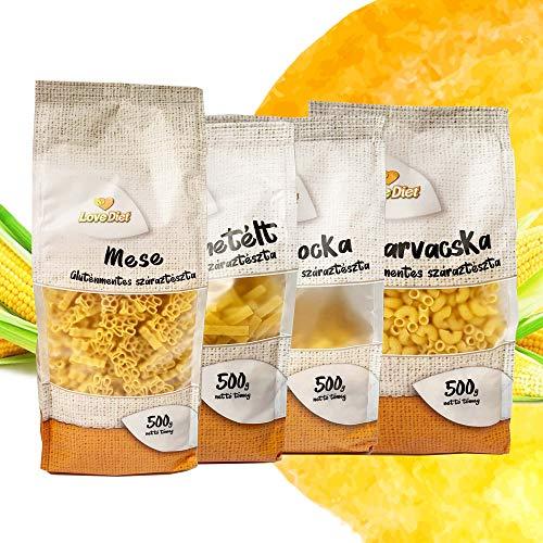 LoveDiet Maisnudeln | Glutenfrei | Vegan | 100% Mais Pasta | Glutenfreie nudeln aus Maismehl | Gluten Free | Ohne Zusätze | Alternative für Nudeln aus Maismehl | 4erPack 2 (4x500g)