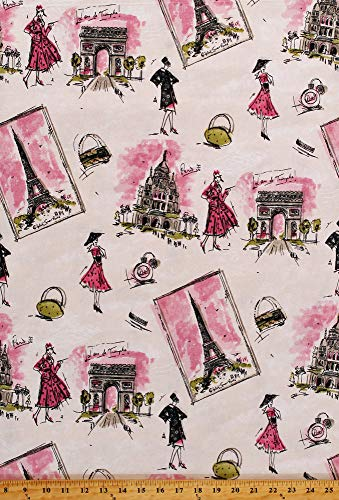 Home Decor Paris Motif Eiffel Tower Arc De Triomphe France Fashion Perfume Bottles Models on Cream Decorator Upholstery Weight Fabric by The Yard (D451.05)