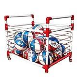 Soporte de bolas Rack de almacenamiento de baloncesto jardín de infantes colocado en rack bola móvil del carro de fútbol Caja bola de la cesta bola de los niños de la bola para balón deportivo