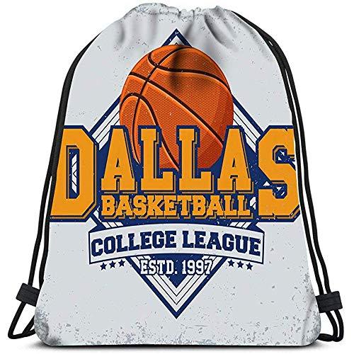 RJ Unique Drawstring Bag,Weinlese-Stempel-Basketball-Emblem-Kreative Reise-Turnhallen-Taschen-Rucksack-Umhängetaschen