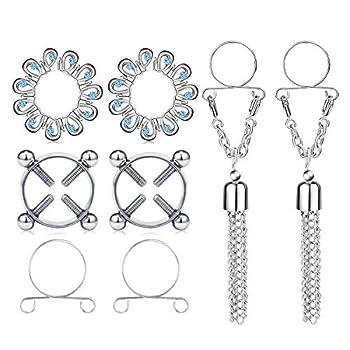 MODRSA Fake Nipple Rings Non Piercing Body Jewelry for Women Stainless Steel Face Nipplerings Dangle Adjustable Screw Clip on Rings