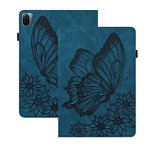 Rosbtib Funda para Xiaomi Pad 5/ 5 Pro 5G 11 Pulgada 2021, Flip Cover con Banda Elástica Función de Soporte PU + TPU Cuero Case Cover Estampado de Mariposas Vintage - Azul