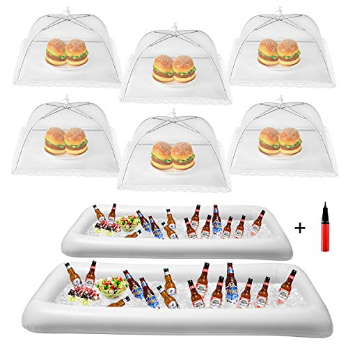 HabiLife Inflatable Serving Bar & Food Umbrella Mesh Cover Screen Tent set, For Parties Picnics Pool Use Bar Party Accessories, 2 Inflatable Bar,6 Food Cover Tent, 1 Balloon Pump(Random Color)