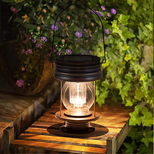 pearlstar Hängend Solarlaterne für Außen Vintage Hell LED Outdoor Solartischlampe Wasserdicht für Aussen Garten Patio Balkon Deko, Warmes Licht, 1 Pack 8.3inch