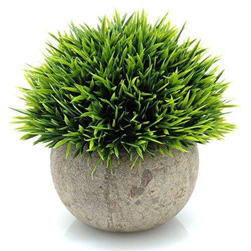 Velener Mini Plastic Fake Green Grass of Plants with Pots for Home Decor