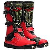 MERRYHE Herren High Top Motorradstiefel Anti Slip Motorrad Gepanzerte Stiefel Wasserdichte Cruiser Boot Warme Schutz Schuhe,Red-41