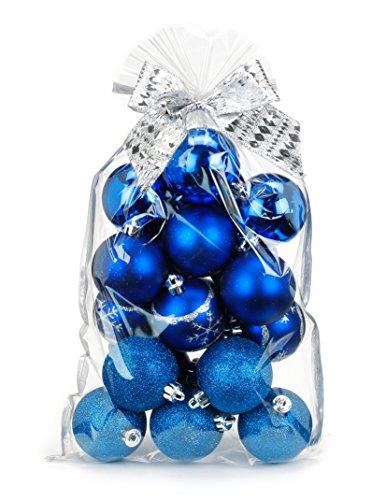 20 pezzi. Palline per albero di Natale, 6 cm, in plastica, idea regalo natalizia Blu