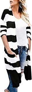 Shusuen Women Casual Long Sleeve Cardigan Autumn Striped Loose Outwear Cardigans
