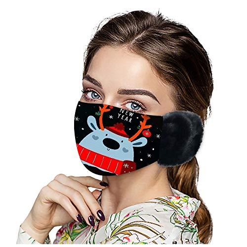 SicongHT 1/7 Stück Weihnachten Mund Nasenschutz, Damen Herren Winter Warm Waschbar Mundschutz Wiederverwendbar Atmungsaktiv Mund und Nasenschutz Stoff Gesichtsschutz(1 Stück,C)