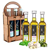 Pellas Nature, Organic Herbs Infused Extra Virgin Olive Oil, Garlic, Basil and Oregano Flavors , Finishing Oil, Hand Crafted Wooden Gift Set, French Glass Bottles, 3 X 1.69 oz.