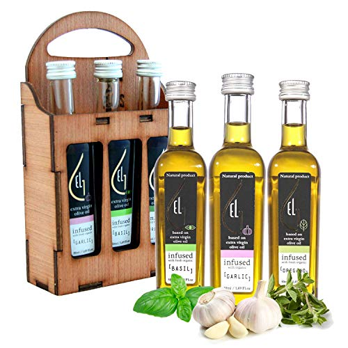 Pellas Nature Fresh Organic Infused Garlic, Basil and Oregano Extra Virgin Olive Oil Gift Set, Ultra Premium, Single Origin, Hand Crafted Wooden Bottle Holder, 1.69 oz.