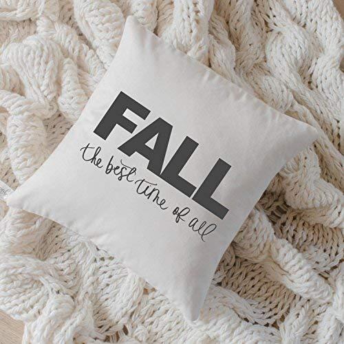 Stan256Nancy Fall The Best Time, federa per cuscino, 40,6 x 40,6 cm, calligrafia, decorazione per la casa, decorazione autunnale, regalo di inaugurazione della casa, federa per cuscino da 40,6 x 40,6 cm