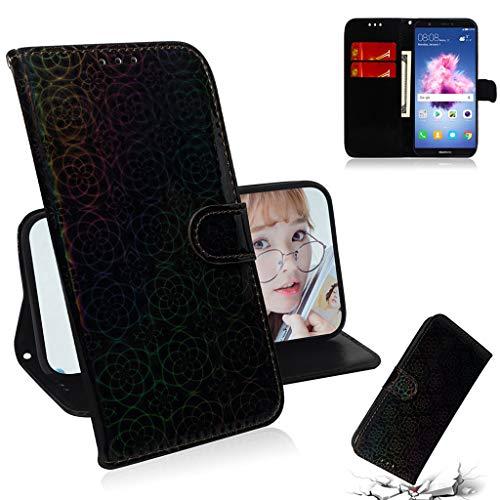 Careynoce Hülle für Huawei Honor 9 Lite/Enjoy 9 Plus,Luxus Geprägte Pure Farbe Leather Brieftasche Flip Cover - Magnetisch Ständer Kartenfach Schutzhülle für Huawei Honor 9 Lite/Enjoy 9 Plus - Schwarz