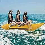 EYCIEROT Inflable Banana Bote Trineo De Agua con Bomba Electrica 3/4/5 Persona Surf Balsa Banana Remolcable Tubo Cómodo Asiento por Lago Mar Campo De Nieve,3 Person