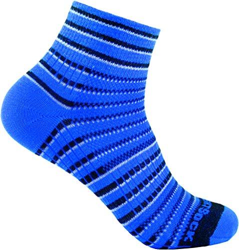 Wrightsock Profi Sportsocke, Laufsocke Modell Coolmesh II in blau weiss schwarz, Anti-Blasen-System, doppellagig, Quarter lang gestreift, Gr. S