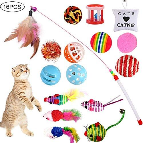 GOLDG 16 Stück Katzenspielzeug Katze Toys Variety Spielzeug Set Federspielzeug Bälle Verschiedene Spielzeug für Katze Kitty