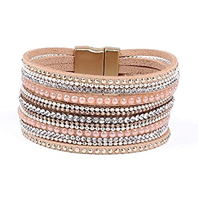 Artilady Shinning wrap Clasp Bangle for Women (Crystal Pink)