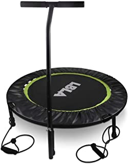 36 Kids Trampoline Mini Bouncer with Adjustable Handrail & Safety Padded Cover, Exercise Trampoline Round Seaside Adventure Foldable Bungee Rebounder Jumping Mat