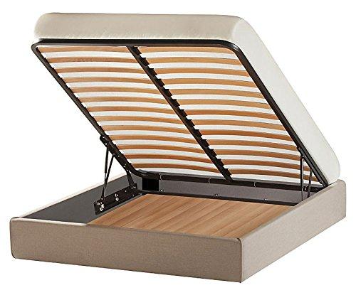 Letto Sommier con BOX CONTENITORE MATRIMONIALE senza testiera: misure 160x190 o 160x200, con rivestimenti a scelta completamenti SFODERABILI (Tessuto // ECOPELLE // Microfibra) + 4 piedini in legno H.6 cm - MADE IN ITALY, Robusto vera occasione! Lift ALZARETE anche ALZATA ORIZZONTALE