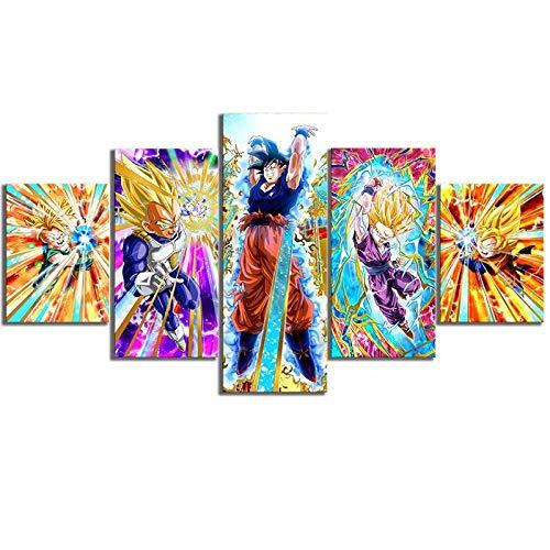 Cuadro de lienzo Cuadros de decoración del hogar 5 piezas Dragon Ball Goku Dibujos animados de pared Impresiones de arte Póster modular para sala de estar + Pintura de lienzo Cuadro de decoración