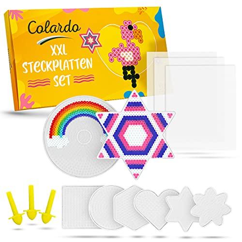 Colardo® [8x] Bügelperlen Platten - Inklusive 3x Bügelpapier und 8 kreative Vorlagen - Transparente 5mm Steckplatten - Bügelperlen Schablonen