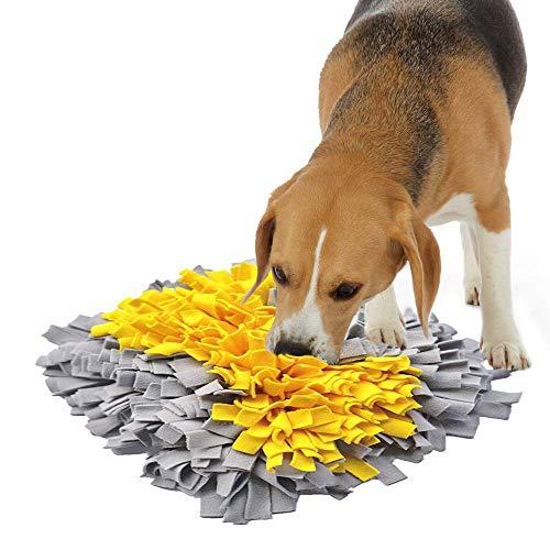 IEUUMLER Snuffle Mat para Perros Estera de alimentación Estera de Entrenamiento Manta para la Nariz Juguete de Juego IE075 (45x45cm, Yellow Bone)
