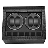 HBselect Watch Winder Lussuoso 4 + 6 Posizioni per Orologio Scatola Carica Orologio Automatico in Pelle PU Winder per Orologi Nero Espositore Orologi Rotatorio