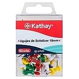 Kathay 86400399. Caja de 40 Chinchetas Colores, Agujas de Señalizar, 10mm, Colores Surtidos