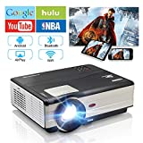 """CAIWEI WiFi Projector, HD 1080P 200"""" Supported 4200 Lux Bluetooth Projectors with 50000 Hrs Lamp Life, Compatible with iPhone, Smart Phone, Laptop, DVD, TV Stick, HDMI LED LCD Indoor Projector"""