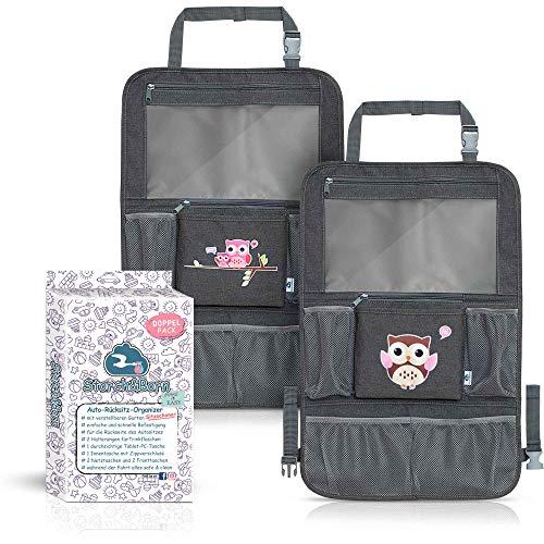 Storch&Born ® Auto Rückenlehnenschutz Kinder, 2 Stück, Eulenmotiv Pink/Braun, Autositz-Schoner mit Taschen und Tablet-Fach   Auto Rücksitz Organizer   Rücksitztasche