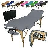 Vivezen ® Table de massage pliante 3 zones en bois avec panneau Reiki...