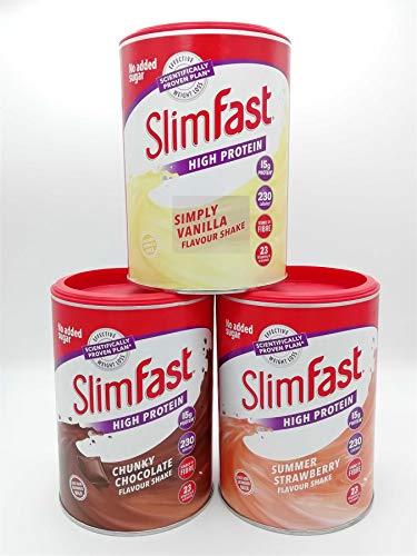 SlimFast KIT Hecho de 3 batidos sustitutivos de comidas ricos en proteínas - 1x Vainilla ligera de 365g, 1x Fresa de verano 365g y 1x Chunky Chocolate 375g - Tres sabores en un práctico kit