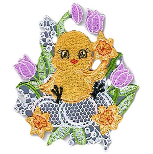 Plauener Spitze Fensterbild Ostern Küken Tulpen Bunt Spitzenbild 15x20 cm + Saugnapf
