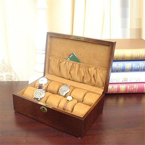La boîte de rangement d'affichage de montre de montre de boîte tient 10+ montres avec les oreillers mous réglables et le dégagement élevé pour de plus grandes montres
